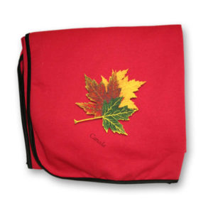 Three Realistic Maple Leaves Fleece Blanket