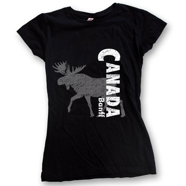 Canada with half tone MooseWomens Jersey T-Shirts