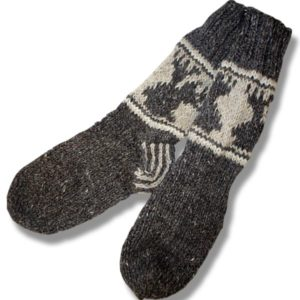 Adult wool socks w/moose brown background