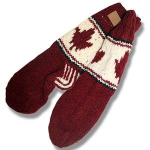 Adult wool socks w/maple leaf burgundy background