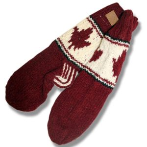 Adult wool socks w/maple leaf burgundy background