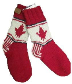 Adult wool socks w/maple leaf red background