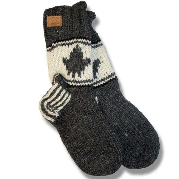 Adult wool socks w/maple leaf charcoal background
