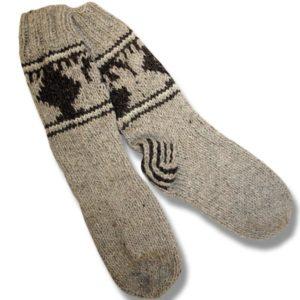 Adult wool socks w/moose beige background