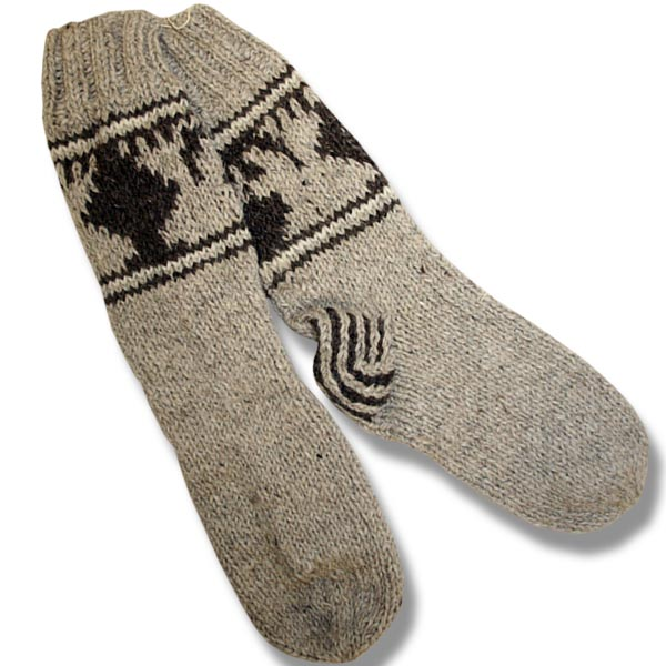 Adult wool socks w/moose beige background