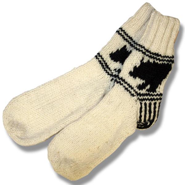 Adult wool socks w/black bear offwhite background