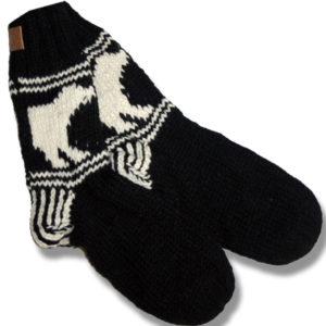 Adult wool socks w/polar bear black background