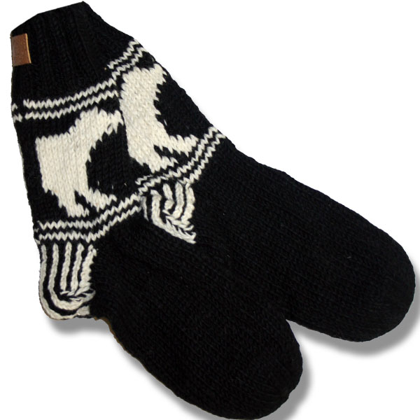 Adult wool socks w/polar bear black background