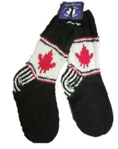 Adult wool socks w/maple leaf black background