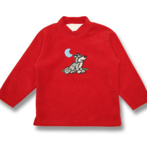 Wolf Applique EmbroideryKids Polar Fleece Sweatshirt