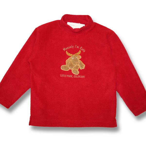 Moosely I'm Cute EmbroideryKids Fleece Sweatshirt