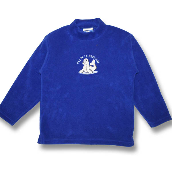Baby Seal Embroidery Kids Polar Fleece Sweatshirt