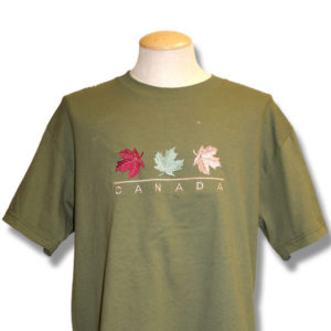 Canada Three Maple LeavesEmbroidery T-Shirt