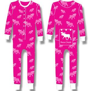 Ladies Junior Pyjama White halftone Moose on Fuchia