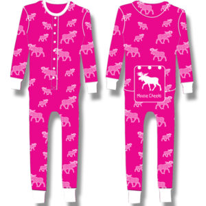 Ladies Junior Pyjama White halftone Moose on Fuchia