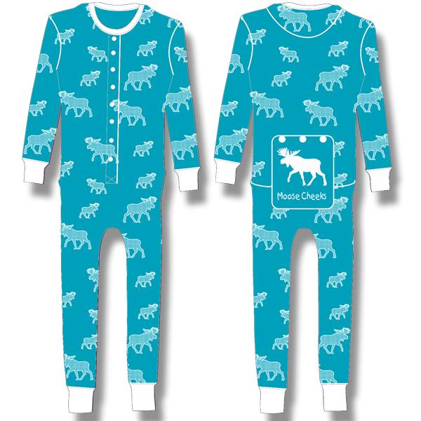 Ladies Junior Pyjama White halftone Moose on Turquoise