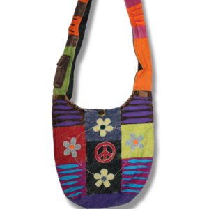Shoulder bag 1 side print w/daisies and Peace Sign