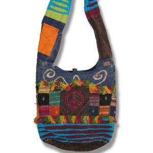 Shoulder bag 1 side print w/fringes