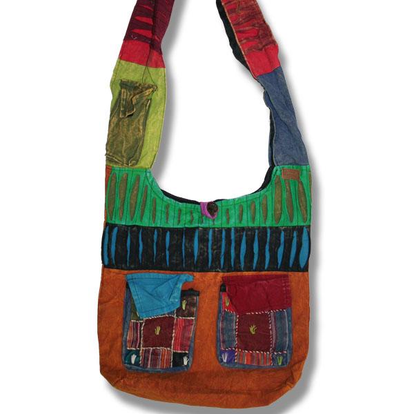 Shoulder bag 1 side print  with pockets