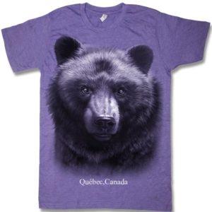 Purple heather adult t-shirt with Black Bear Head