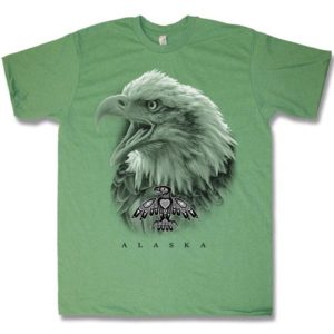 ADULT HEATHER T-SHIRT EAGLE HAIDA HEAD & TOWN NAME