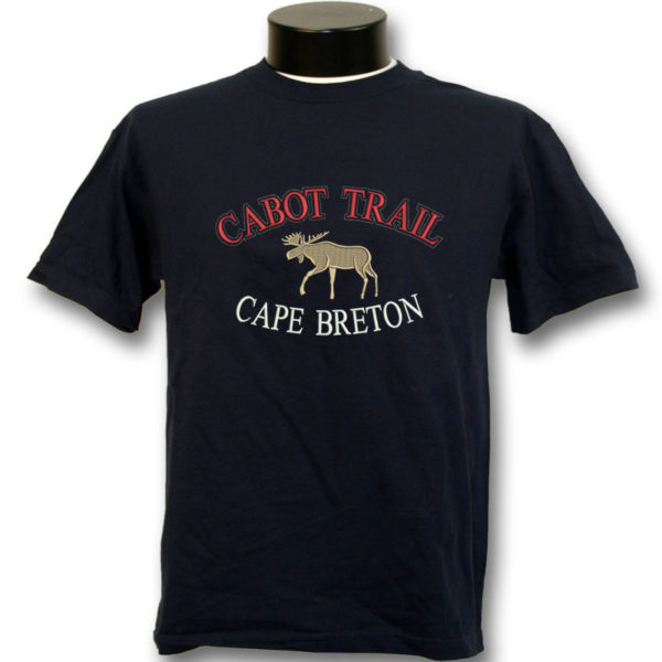navy adult t-shirt with Collegiate emb with moose