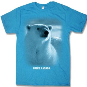 ADULT T-SHIRT WITH POLAR BEAR HEAD & TOWN NAME