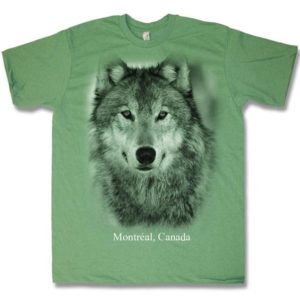 Kellygreen heather adult t-shirt with Wolf Head
