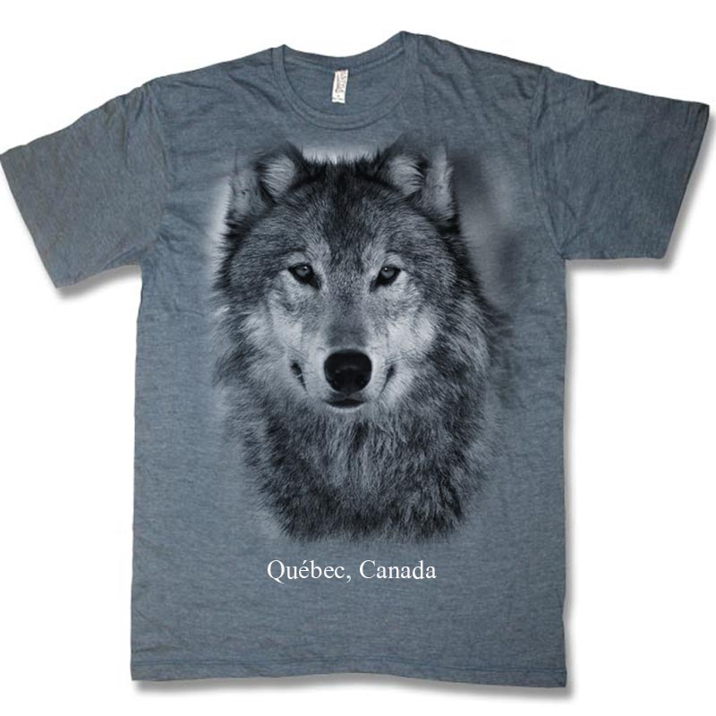Navy heather adult t-shirt with Wolf Head