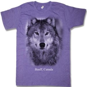 Purple heather adult t-shirt with Wolf Head