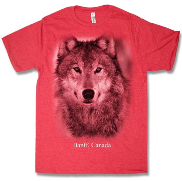 Red heather adult t-shirt with Wolf Head