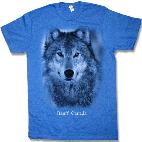 Royal heather adult t-shirt with Wolf Head