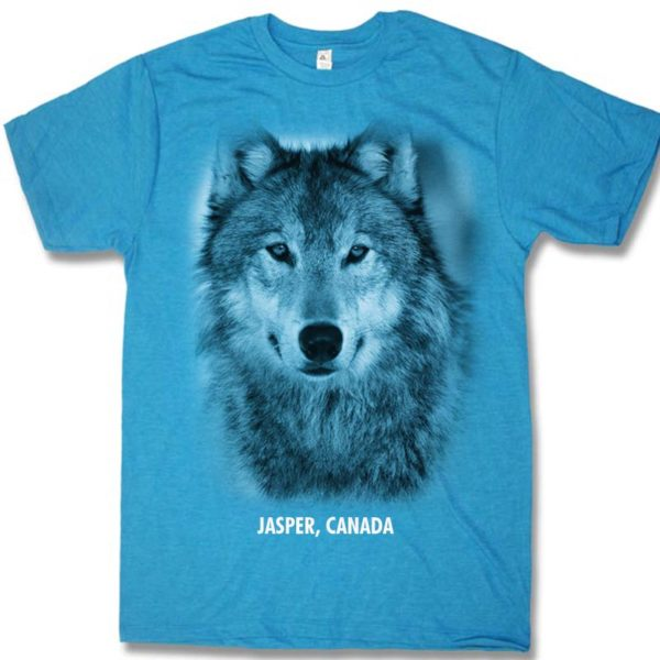 Turquoise heather adult t-shirt with Wolf Head