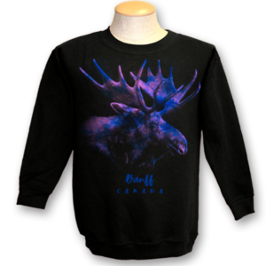 ADULT CREWNECK SWEAT WITH RAINBOW MOOSE & TOWN NAME