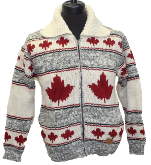 Adult Woolen Lined Sweater with Maple Leaf