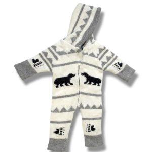 Infant Black Bear wool rompers