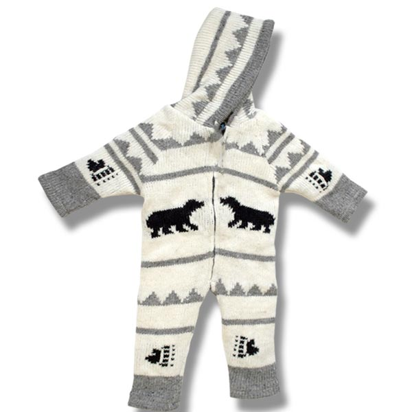 Infant Black Bear wool rompers