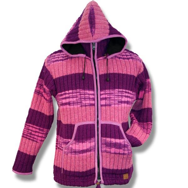 Adult Rib jacket w/zip hood