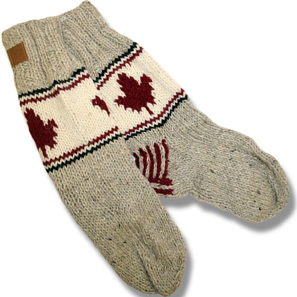 Adult wool socksw/maple leaf beige background