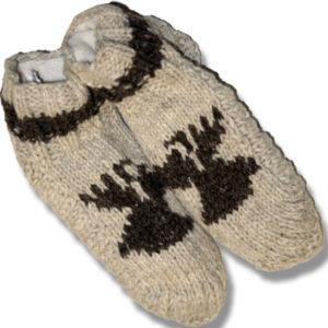 Adult wool booties W/Moose