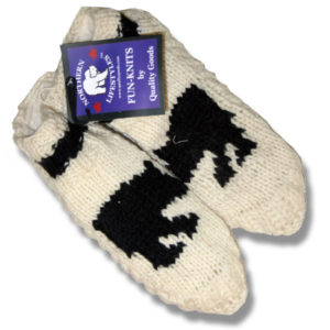 Adult wool booties with Black bear