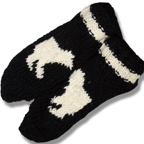 ADULT WOOL BOOTIES WITH POLAR BEAR
