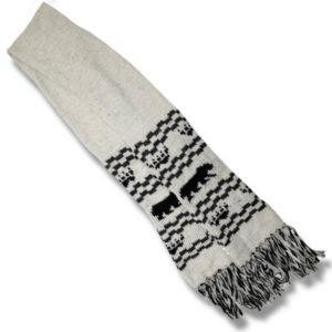 woolen scarf  Black Bear/ white
