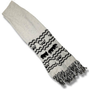 woolen scarf  Black Bear/ white