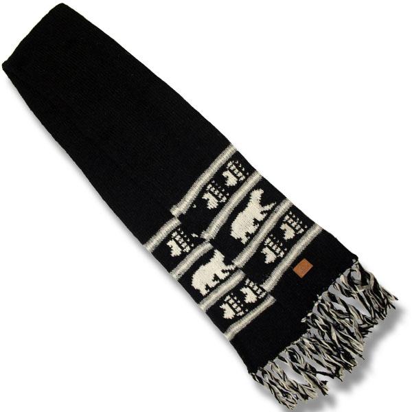 woolen scarf Polar bear / black