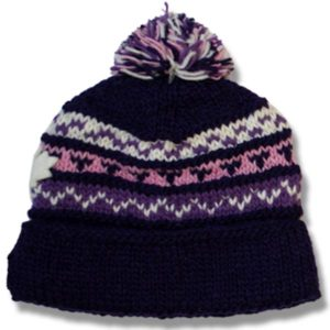 Adult tuque roll up with pompom / purple pink mix