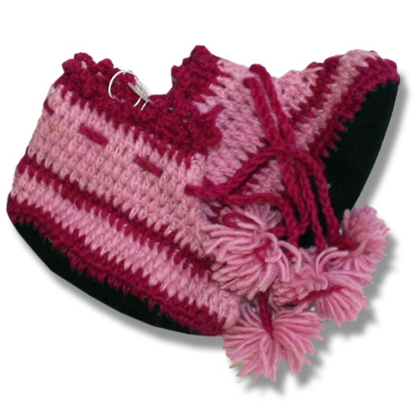 infant booties in pink