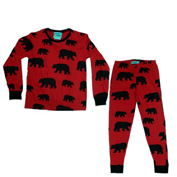 Black Bear on Red long-sleeve