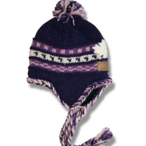 adult earflap hat with pompom 100% wool