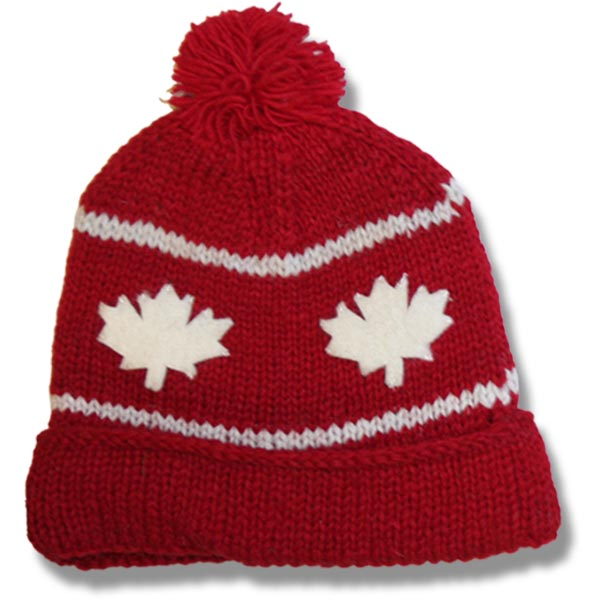 Adult Roll Up Tuque w/Pompom,100% wool